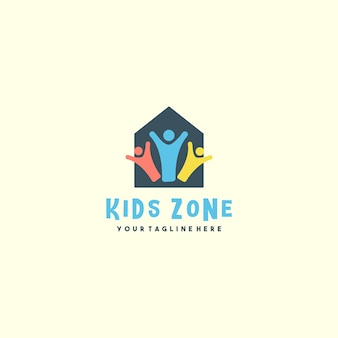 Kreatives kinderzonenhauslogo