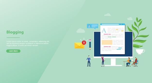 Kreatives konzept des bloggens oder des blogs mit laptop-computer und inhaltsentwicklung mit teamleuten für websiteschablonen-landungshomepage