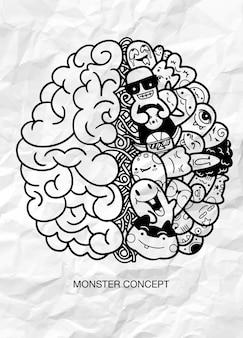 Kreatives konzept des menschlichen gehirns, monster-gekritzel-konzept