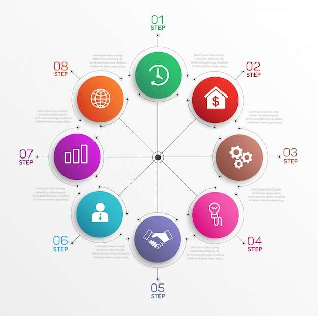 Kreatives konzept für infografik-diagramm mit 8 schritten