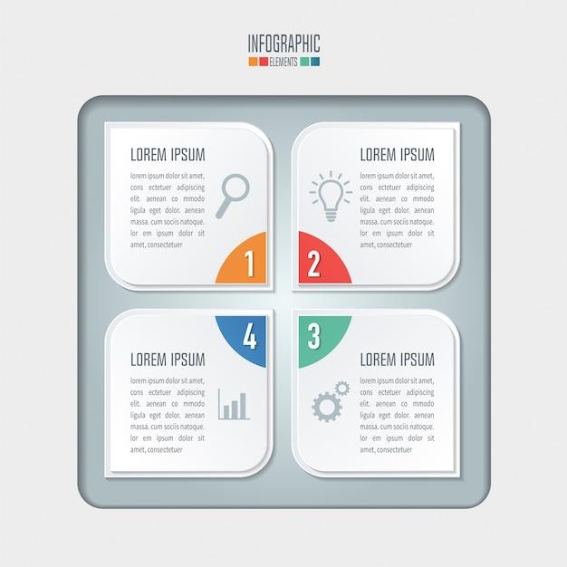 Kreatives konzept für infografik. geschäftskonzept mit 4 optionen, schritten oder prozessen.