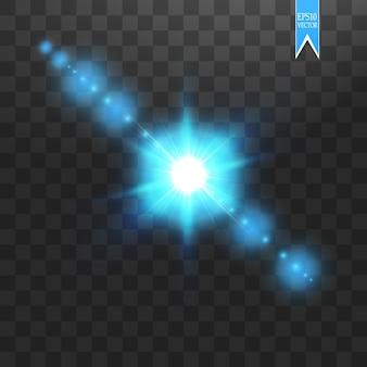 Kreatives konzept glühende lichteffektsterne platzen mit funkeln auf transparentem hintergrund. für illustrationsschablonenkunst, flash-energiestrahl
