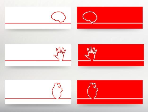 Kreatives konzept hintergrund des menschlichen gehirns, der hand, des herzens. vektor-illustration für ihr design.