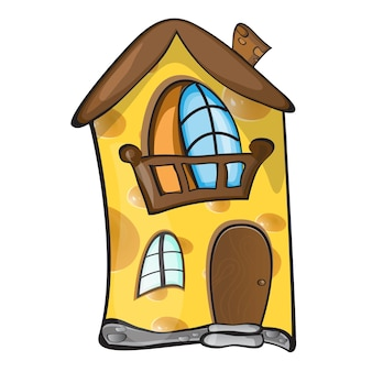 Kreatives konzept - kleines cartoonhaus aus gelbem porösem käse für die maus. vektor-illustration