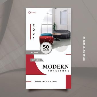 Kreatives konzept und minimalistisches modernes möbel-werbedesign für social-media-posts und -banner