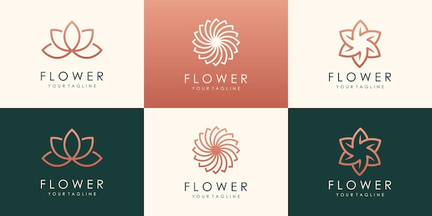 Kreatives kreisförmiges blumenlotus-logo. lineares universelles blattblumenlogo