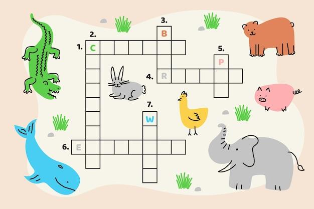 Kreatives kreuzworträtsel im englischen arbeitsblatt mit verschiedenen tieren