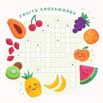 Kreatives kreuzworträtsel in englisch mit früchten