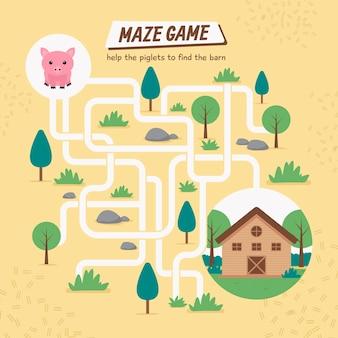 Kreatives labyrinth für kinderarbeitsblatt mit schwein