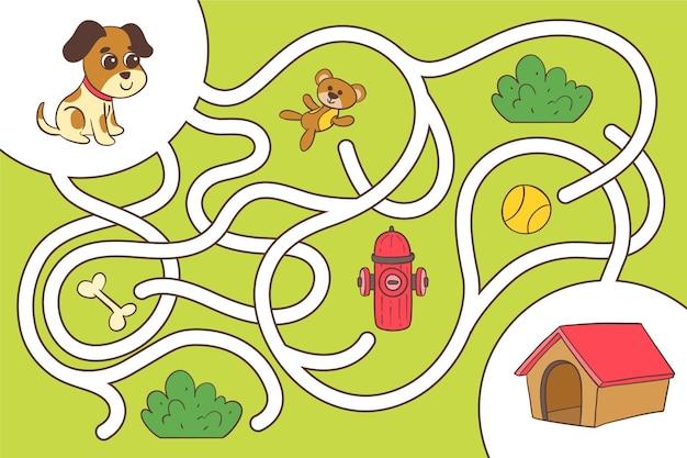 Kreatives labyrinth für kinderarbeitsblatt mit welpen