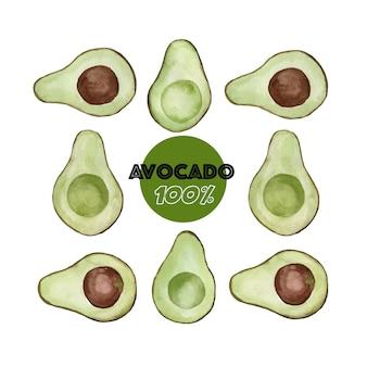 Kreatives layout aus aquarell avocado