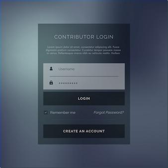 Kreatives login-formular ui vorlage im dunklen thema