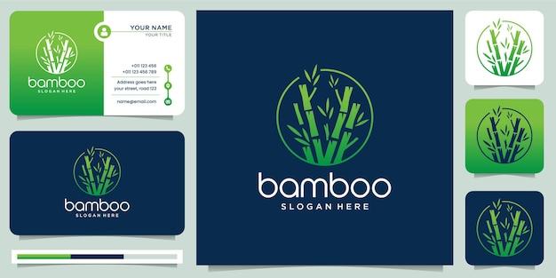 Kreatives logo aus bambus. für geschäftsfirma, rahmen, blatt, panda, sammlung., moderne art und visitenkartenillustration.
