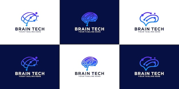Kreatives logo der sammlung gehirndatentechnologie collection