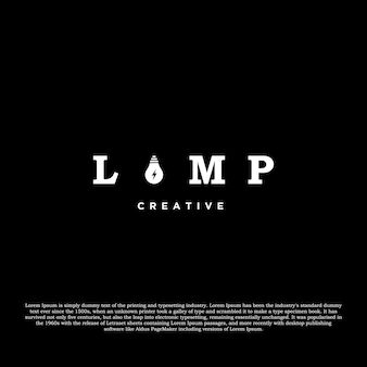 Kreatives logo-design der lampe isoliert auf schwarzem hintergrund