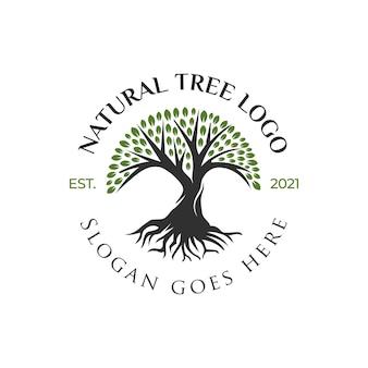 Kreatives logo-design des baumlebens, baumikone, grünes gartenelementdesign