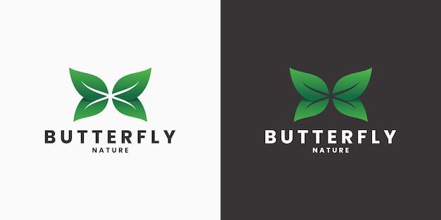 Kreatives logo-design mit blatt- und schmetterlingskombination