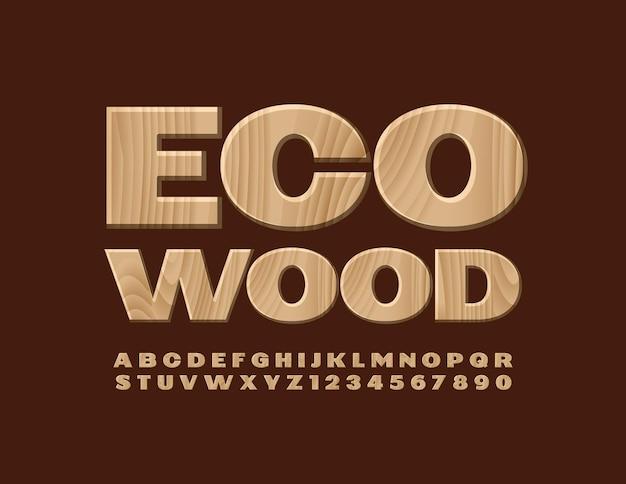 Kreatives logo eco wood tree textur schriftart natürliches muster