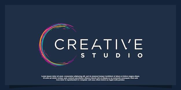 Kreatives logo mit farbbürstenkonzept premium-vektor teil 1