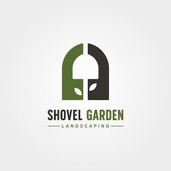 Kreatives logo-vektorsymbol-illustrationsdesign des schaufelgartens