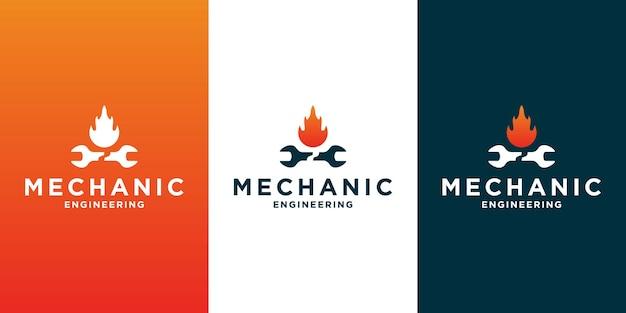Kreatives logodesign für mechanik- und garagenbetrieb mit farbverlauf