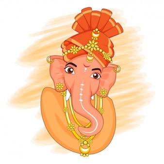 Kreatives lord ganesha idol mit orangefarbenem pinselstricheffekt auf weißem hintergrund.