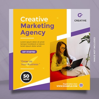 Kreatives marketing-agentur-vorlagendesign für social-media-post und banner mit blau-gelber farbe