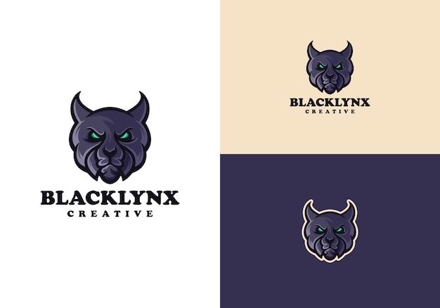Kreatives maskottchen-charakter-logo der schwarzen luchs-katze