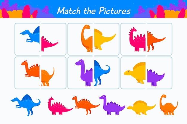 Kreatives match-game-arbeitsblatt mit dinosauriern