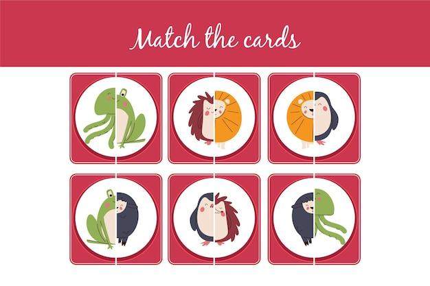 Kreatives matchspiel-arbeitsblatt mit tieren
