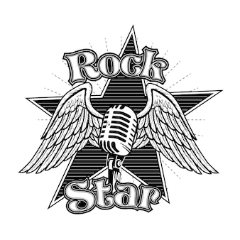 Kreatives mikrofon mit flügelvektorillustration. monochromes retro-tattoo für rockstar mit schriftzug