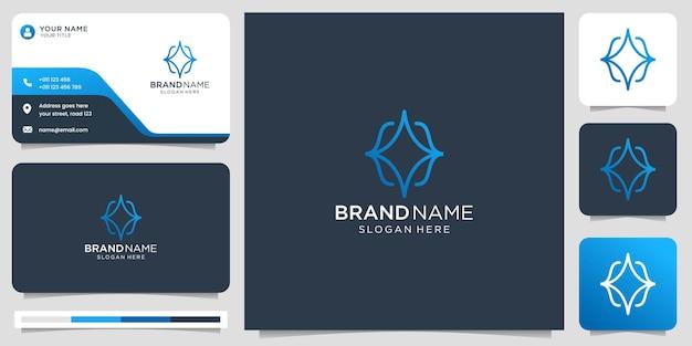 Kreatives minimalistisches code-logo-design mit visitenkartenvorlage. line-art-stil-konzept-design.