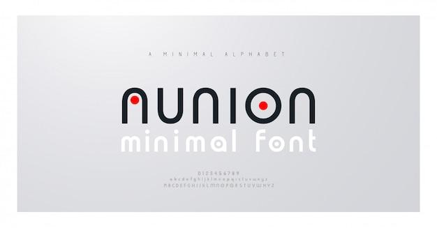 Kreatives modernes alphabet der minimalen schriftart. typografie mit punkt regelmäßig und zahl. minimalistische schriftarten eingestellt.