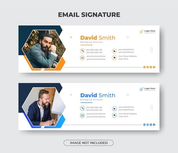 Kreatives modernes business-e-mail-signatur-vorlagendesign oder e-mail-fußzeile und persönliches facebook-cover