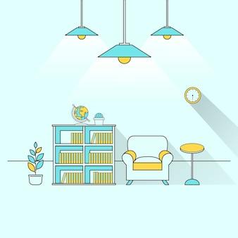 Kreatives möbelthema im flat line design
