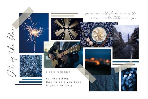 Kreatives moodboard in mitternachtsblau
