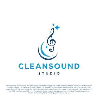 Kreatives musikmelodielogo mit reinigungsdesignschablone
