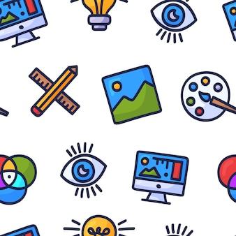 Kreatives nahtloses muster des grafikdesigns. hand gezeichnetes gekritzel nahtloses muster mit grafikdesign. bunte karikaturikonen