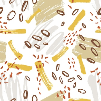 Kreatives nahtloses muster mit lebendigen farbschlieren, flecken, flecken, kritzeln auf weißem hintergrund. coole handgemalte vektorgrafik im modernen stil für packpapier, tapeten, stoffdruck.