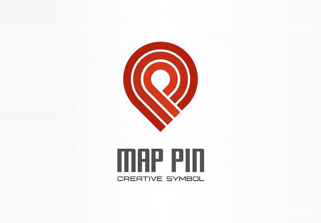 Kreatives navigationssymbolkonzept des kartenstifts. beenden sie das abstrakte geschäftstransport-logo des gps-standortmarkers. fahrstempel richtung, logistiksymbol.
