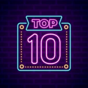 Kreatives neon-top-ten-zeichen