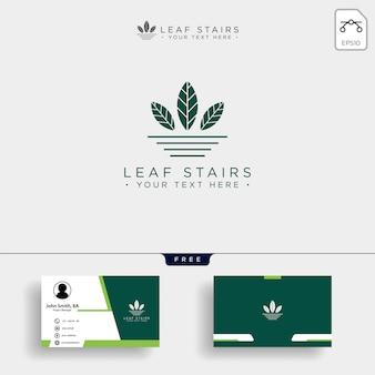 Kreatives öko-logo mit grünen blättern und treppen