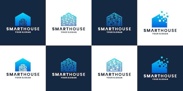 Kreatives paket smart home, haus, haustechnik-logo-design