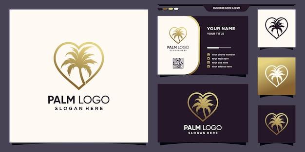 Kreatives palmenlogo und liebe mit linie kunststil und visitenkartendesign premium-vektor