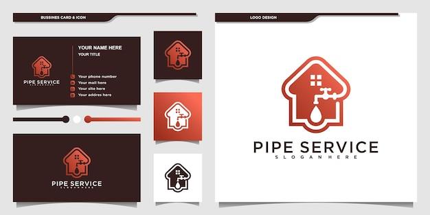 Kreatives pfeifenservice-logo mit coolem kombiniertem haus- und wassertropfenkonzept für geschäftsunternehmen premium-vektor