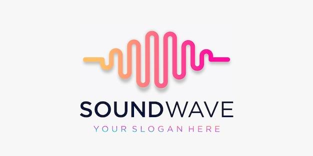 Kreatives puls-logo. wellenelement. logo-vorlage elektronische musik, equalizer, laden, dj-musik, nachtclub, disco. audio-wellen-logo-konzept, thematische multimedia-technologie, abstrakte form.