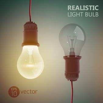 Kreatives quadrat mit zwei eingeschalteten und ausgeschalteten glühbirnen, die an drähten auf gradientenillustration hängen