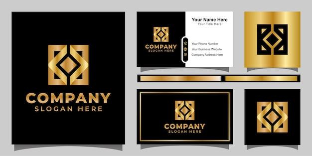 Kreatives quadratisches geschäftslogo des monogramms, goldener buchstabe k mit quadratischem logoentwurf mit visitenkarte