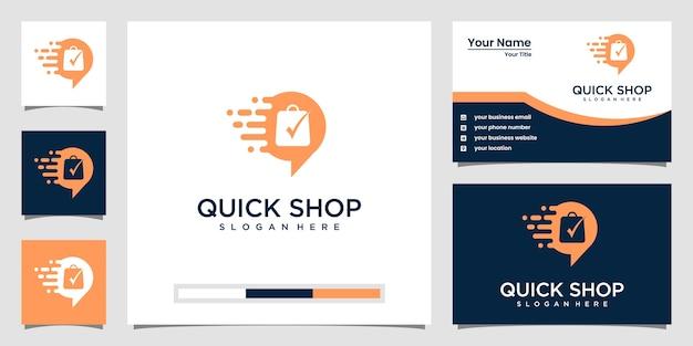 Kreatives quick-shop-logo und visitenkarte