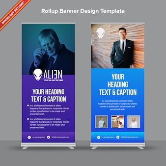 Kreatives rollup-banner mit blauem und purpurrotem steigung